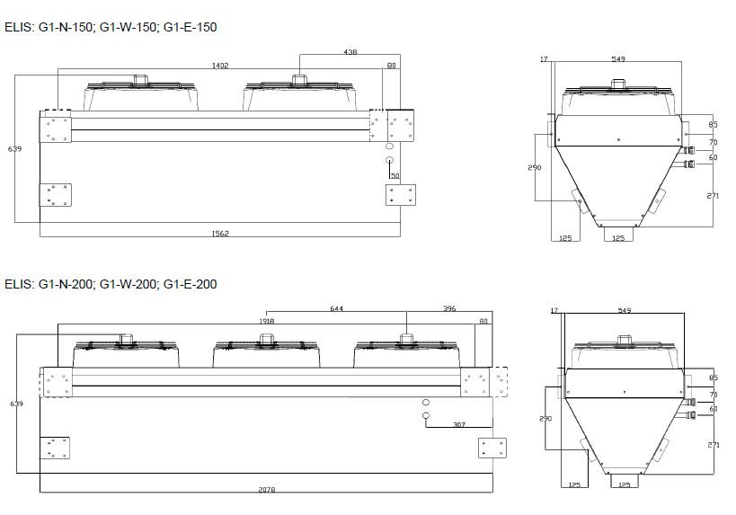 Kurtyny powietrzne przemysłowe ELIS G1 FLOWAIR - wymiary
