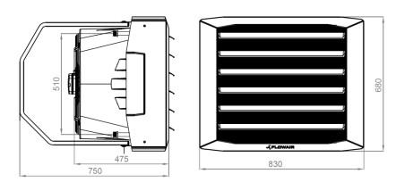nagrzewnica wodna LEO XL1 XL2 FLOWAIR - wymiary