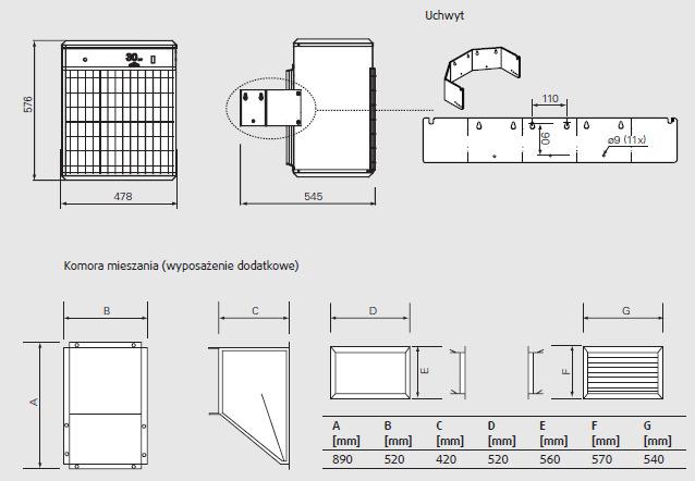 Nagrzewnice elektryczne przemysłowe ścienne PANTHER 20-30kW FRICO - wymiary