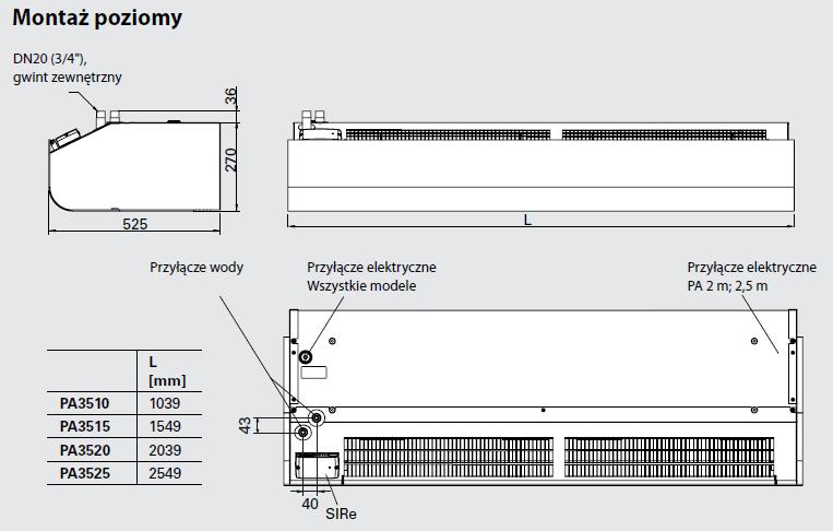 Kurtyny powietrzne PA 3500 FRICO THERMOZONE - wymiary