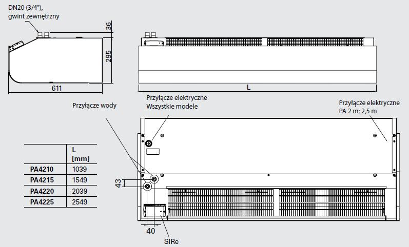 Kurtyny powietrzne PA 4200 FRICO THERMOZONE - wymiary