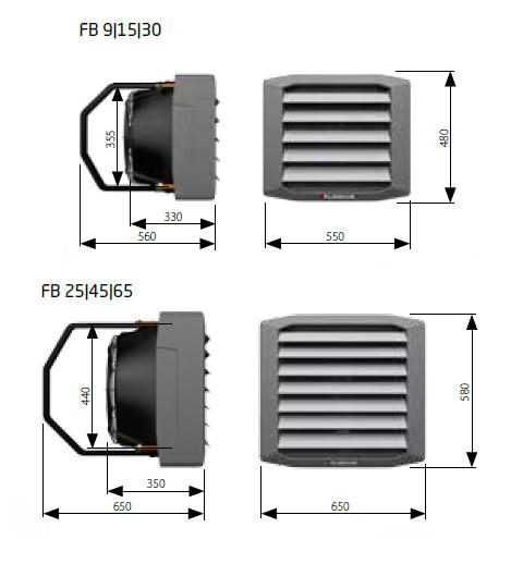 Teplovodní ohřívače LEO FB FLOWAIR - rozměry