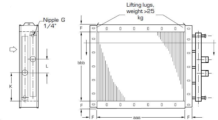 nagrzewnica wodna wymiennik ciepła woda powietrze QLHF COILTECH LUVATA - wymiary