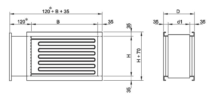 nNagrzewnice kanałowe prostokątne VFL VEAB - wymiary