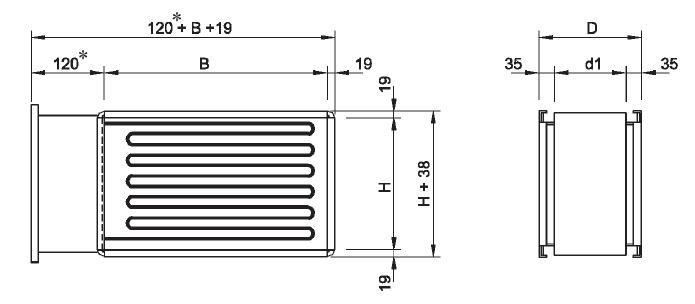Nagrzewnice kanałowe elektryczne prostokątne VFLPG VEAB - wymiary