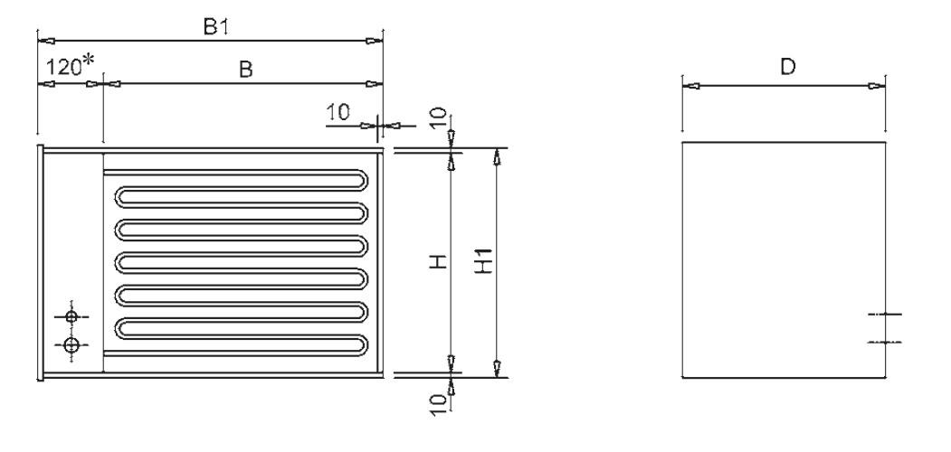 Nagrzewnice kanałowe elektryczne prostokątne VRA VEAB - wymiary