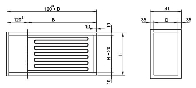Nagrzewnice kanałowe elektryczne prostokątne VTL VEAB - wymiary