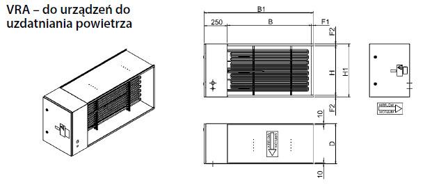 Nagrzewnice kanałowe przeciwwybuchowe VRA-Ex VEAB - wymiary