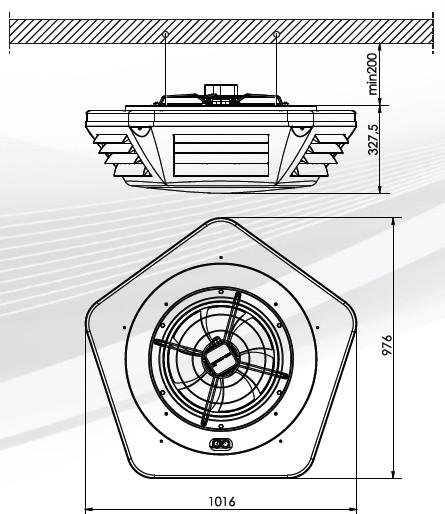 aparat grzewczy nagrzewnica wodna BRAVA JUWENT - wymiary