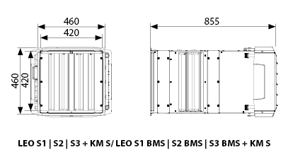 aparat grzewczo-wentylacyjny z komorą mieszania LEO S1 S2 S3 KM S FLOWAIR.jpg - wymiary