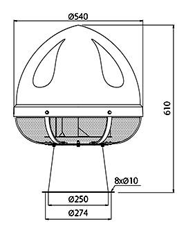 wentylator dachowy UVO H 3 - wymiary