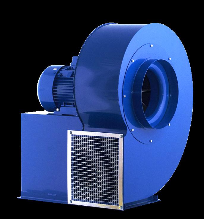 wentylator promieniowy przemysłowy do transportu i odciągu wiórów, trocin, pyłów spalin MPB - przód