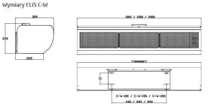 kurtyna powietrzna ELIS C-100-150-200-W - wymiary