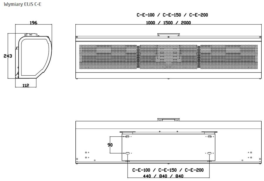 kurtyna powietrzna ELIS C-E-100-150-200 - wymiary