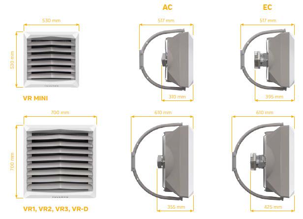 nagrzewnice wodne VOLCANO V1 VR2 VR3 VTS EUROHEAT wymiary