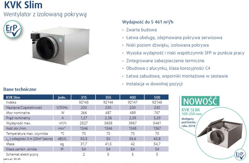 wentylatory kanałowe KVK Slim AC Systemair