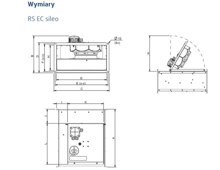 wentylatory kanałowe RS sileo systemair wymiary